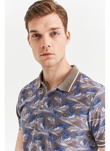 Avva Erkek  Polo Yaka Çiçek Baskılı Tişört A01Y1002 Vizon